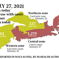 Map of COVID-19 cases reported in Nova Scotia as of January 27, 2021. Legend here.