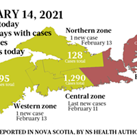 Map of COVID-19 cases reported in Nova Scotia as of February 14, 2021. Legend here.