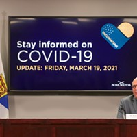 Strankin—premier Iain Rankin, left, and public health supremo Robert Strang—at their Friday, March 19 briefing. COMMUNICATIONS NOVA SCOTIA