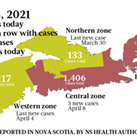 Map of COVID-19 cases reported in Nova Scotia as of April 8, 2021. Legend here. THE COAST