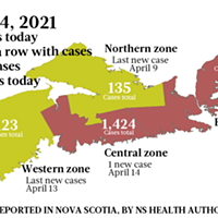 Map of COVID-19 cases reported in Nova Scotia as of April 14, 2021. Legend here. THE COAST