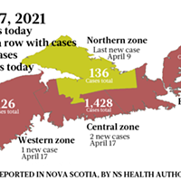 Map of COVID-19 cases reported in Nova Scotia as of April 17, 2021. Legend here. THE COAST