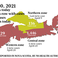 Map of COVID-19 cases reported in Nova Scotia as of April 20, 2021. Legend here. THE COAST