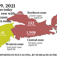 Map of COVID-19 cases reported in Nova Scotia as of April 29, 2021. Legend here. THE COAST