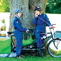 A Tale on Two Wheels is a free outdoor show for very young audiences (18 months to 6 years) delivered to parks and outdoor spaces by tandem bicycle.