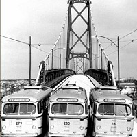 Nova Scotia Light and Power Company's trolley buses provided the first public transportation across the harbour span.