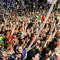 Crowds celebrate Evolve, 2014.