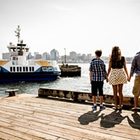 Tie, Priscilla and Cain Blake on the Dartmouth waterfront
