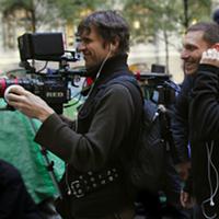 Director Avi Lewis (right) and DP Mark Ó Fearghaíl in New York.