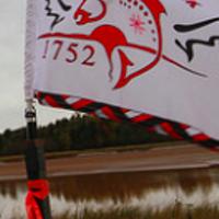 The Sipekne'katik flag waves at the proposed brine storage site.