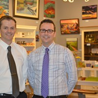 Joel Kelly and Mark Smith in the Bedford store