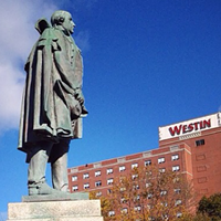 The founder of white people, this statue of Edward Cornwallis now protects the Westin hotel from French invaders.