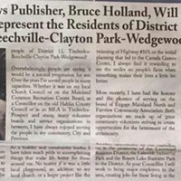 The June edition of Bruce Holland's Parkview News, announcing his campaign.
