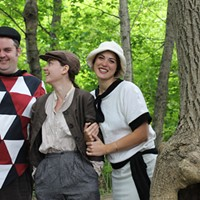 Touchstone (played by Tom Gordon Smith), Rosalind (Catherine Rainville) and Celia ( Hilary Adams) chill in As You Like It.