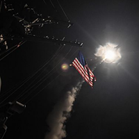 The guided-missile destroyer USS Porter (DDG 78) conducts strike operations on Syrian targets while in the Mediterranean Sea, April 7, 2017.