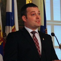 Nova Scotia Finance minister Randy Delorey delivering this year's budget.