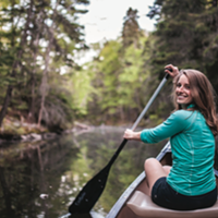 Emma Drudge dips her paddle in at Shubie.