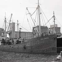 Fort Prevel, a trawler built during the First World War, worked out of Halifax for many years before serving in the Second World War. It was later converted to a cargo ship and worked on the St. Lawrence River. (1970)