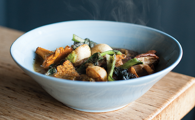 Mixed wild mushrooms with chanterelle broth, hakurei turnip, choy, fermented choy puree and kombu powder - JESSICA EMIN
