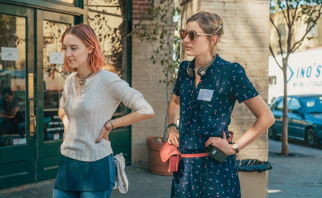 Lady Bird creator Greta Gerwig says Saiorse Ronan's Lady Bird (left) isn't autobiographical. - ELEVATION PICTURES