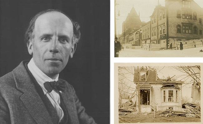 The December 6, 1917 walk from Bedford to downtown exposed Lismer to scenes of the Explosion's aftermath, and the art school where he worked (top right) was used as a morgue. - M.O. HAMMOND FROM THE ARCHIVES OF ONTARIO, W.G. MACLAUGHLAN FROM THE NOVA SCOTIA ARCHIVES