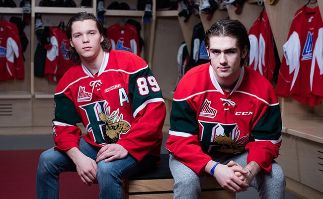 As hockey stars, Finnish centre Otto Somppi, left, and Filip Zadina, a right winger from the Czech Republic, have to do things like pose for photos before a Mooseheads practise. - RILEY SMITH