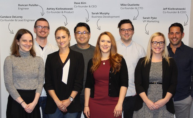 The core of the Harbr team, including co-founders Candace DeLorey, Ashley Kielbratowski, Dave Kim, Mike Ouellette and Jeff Kielbratowski. - SUBMITTED