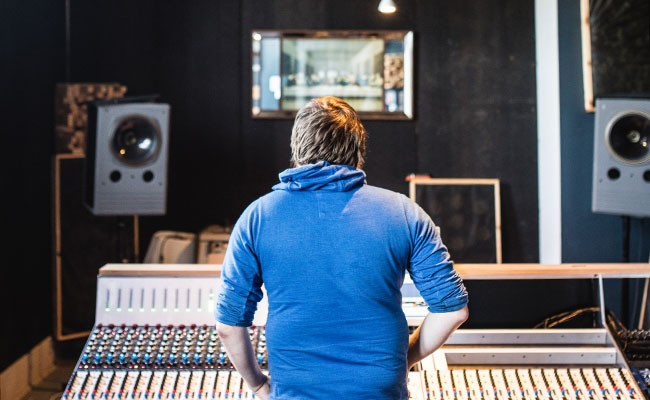 Diego Medina at the Lodge's recording console. - RILEY SMITH