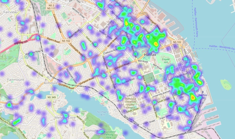 A heat map of Airbnb listings on the peninsula. - TOM SLEE