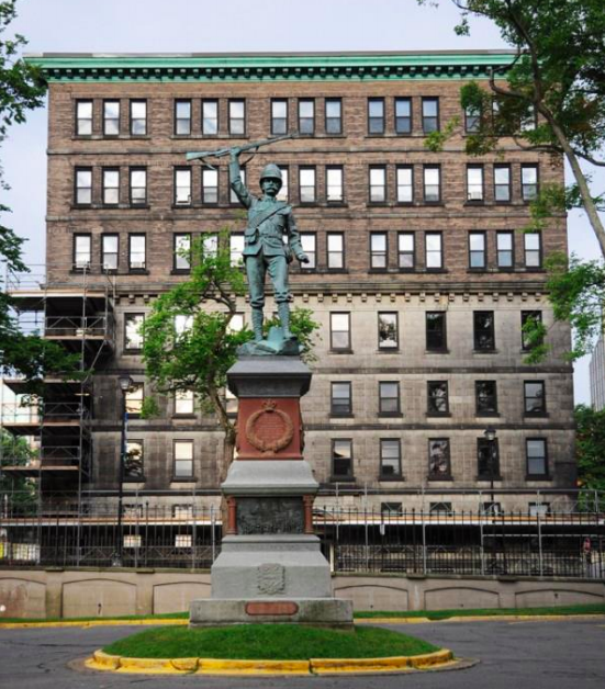 The Dennis Building, pictured behind the Boer War memorial. - VIA HRM