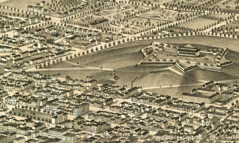 A panoramic map of Halifax from 1879. Several of the city's planning bylaws have been updated since then. - LIBRARY OF CONGRESS