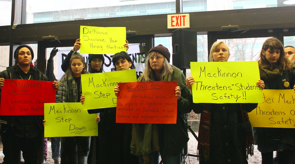 "Students use free expression to protest Dal hiring ""free speech"" advocate Peter MacKinnon. - ASHLEY CORBETT"