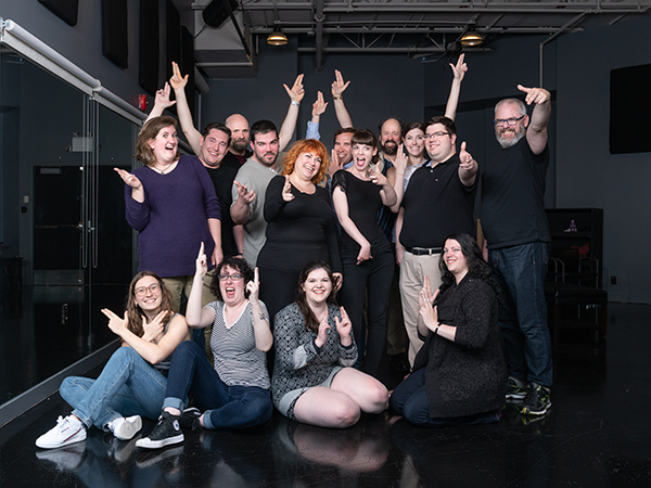 The cast and production team of Assassins on a rehearsal break this week. - IAN SELIG
