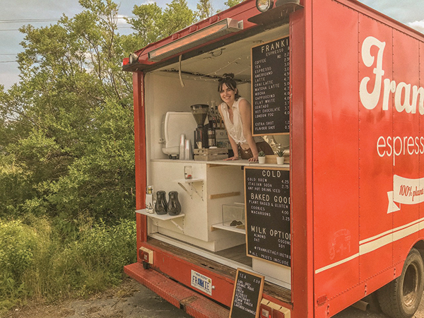 Jill Mulveney and the fire truck she (and Adam Otmar) converted into their big-little coffee shop - SUBMITTED