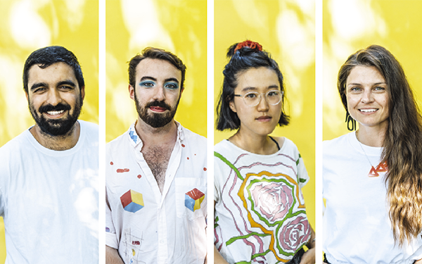 On a blistering day in July, artists Arjun Lal, Séamus Gallagher, Jenny Yujia Shi and Carrie Allison posed for The Coast in a heatwave-resistant backyard-turned-photo studio. - DANIEL DOMINIC