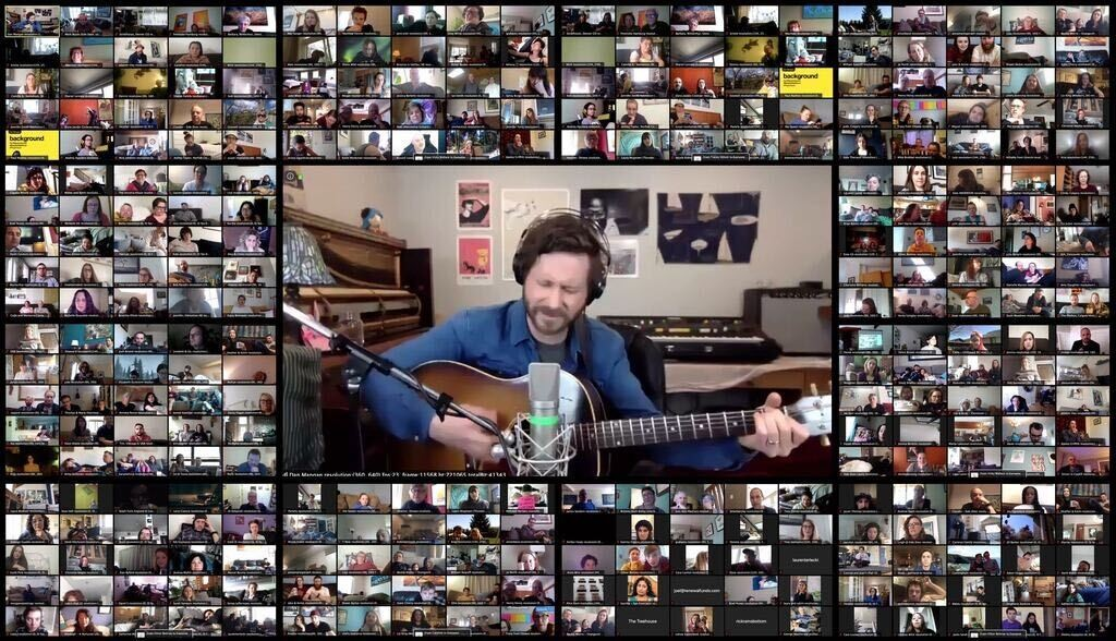 """The """"crowd"""" at one of Dan Mangan's virtual Side Door concerts. - MARK BUSSE PHOTO"""