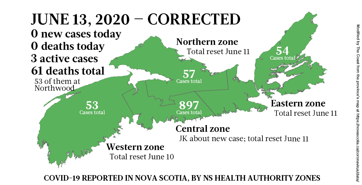 The corrected map of COVID-19 cases in Nova Scotia as of June 13, 2020. - THE COAST