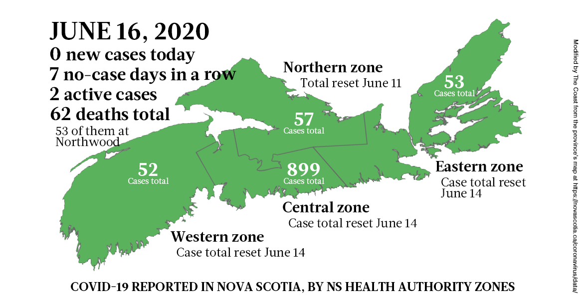 Map of COVID-19 cases in Nova Scotia as of June 16, 2020. - THE COAST