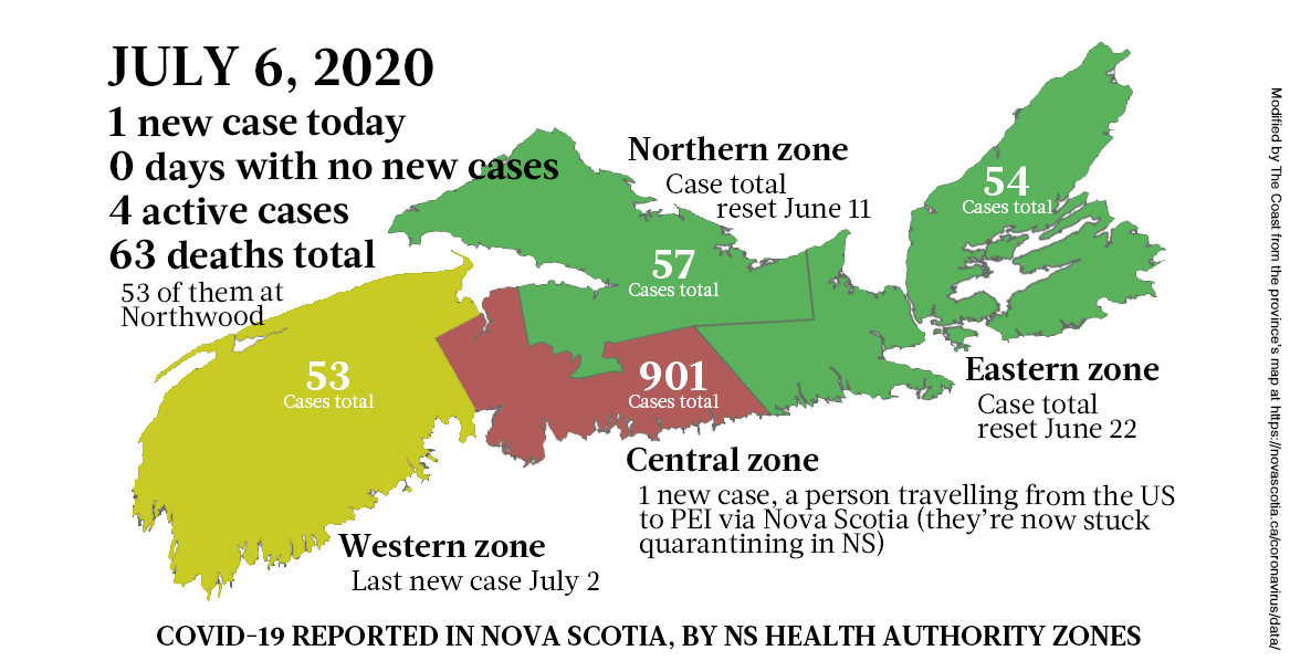 Map of COVID-19 cases reported in Nova Scotia as of July 6, 2020 - THE COAST