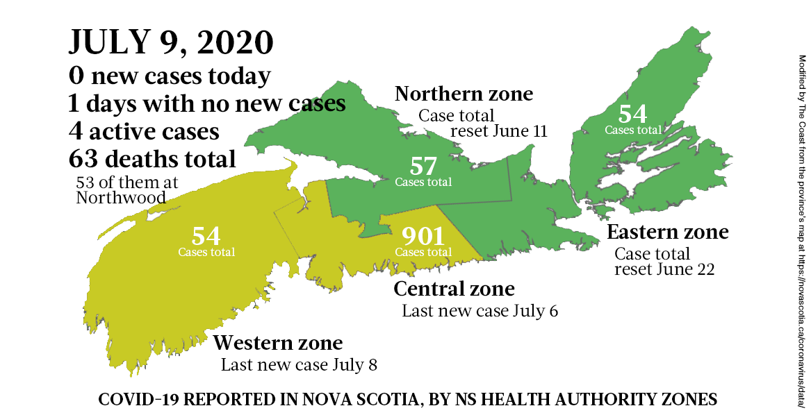 Map of COVID-19 cases reported in Nova Scotia as of July 9, 2020 - THE COAST
