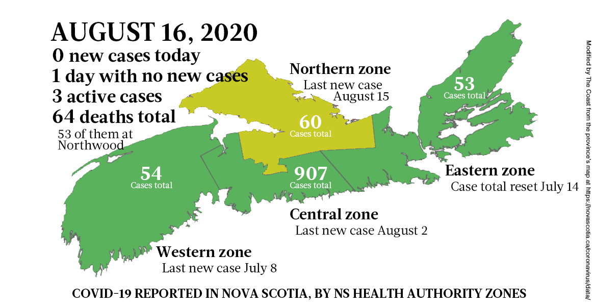 Map of COVID-19 cases reported in Nova Scotia as of August 16, 2020. - THE COAST