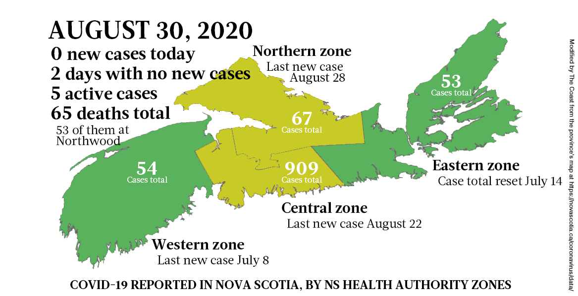 Map of COVID-19 cases reported in Nova Scotia as of August 30, 2020. - THE COAST