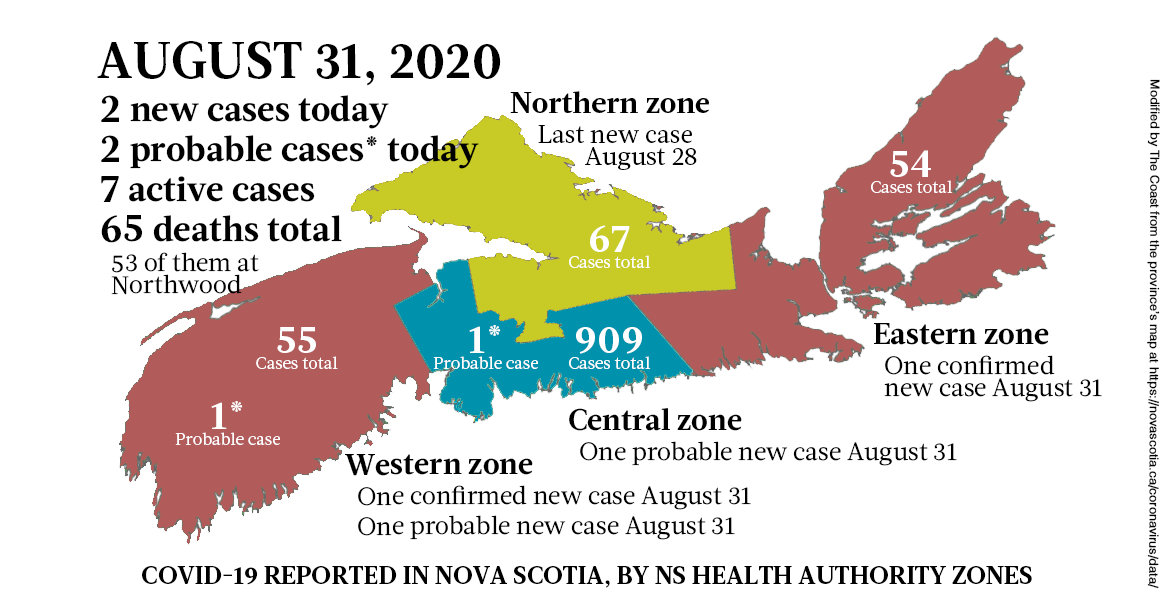 Map of COVID-19 cases reported in Nova Scotia as of August 31, 2020. - THE COAST