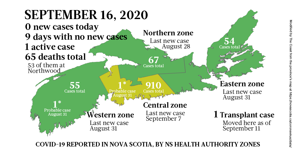 Map of COVID-19 cases reported in Nova Scotia as of September 16, 2020. The yellow-ish colour is for areas with infection(s) in the last two weeks (a C19 incubation cycle); green regions are two-plus weeks clear; red is a case today. - THE COAST