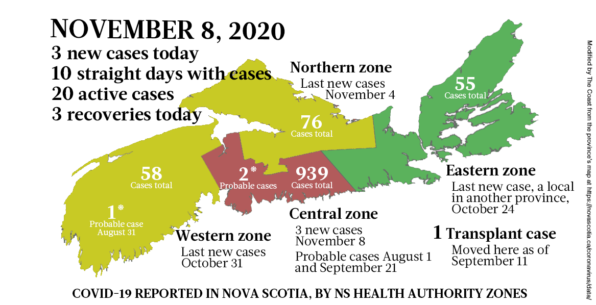 Map of COVID-19 cases reported in Nova Scotia as of November 8, 2020. Legend here. - THE COAST