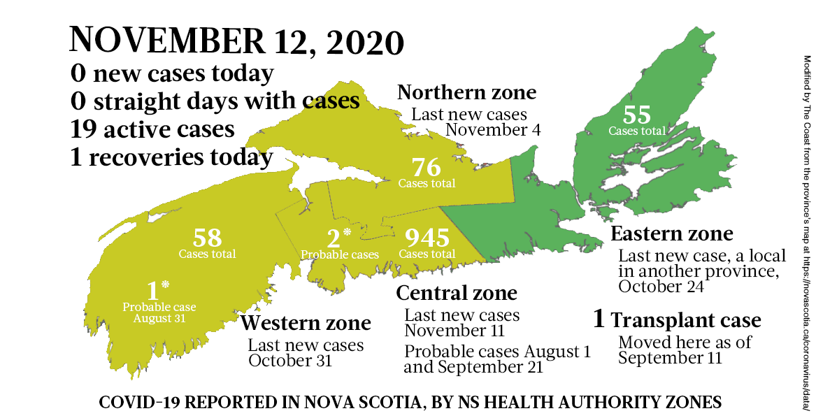 Map of COVID-19 cases reported in Nova Scotia as of November 12, 2020. Legend here. - THE COAST