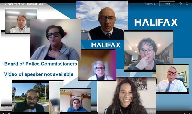 Virtual meeting of Halifax's board of police commissioners on Monday, November 16. - THE COAST