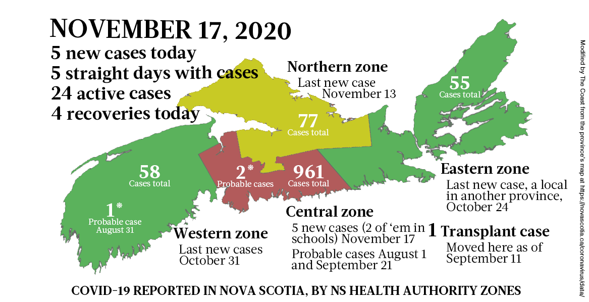 Map of COVID-19 cases reported in Nova Scotia as of November 17, 2020. Legend here. - THE COAST