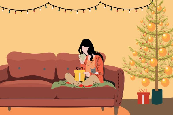 You might have to be alone by the tree this year, but there are ways to feel less lonely. - STOCK