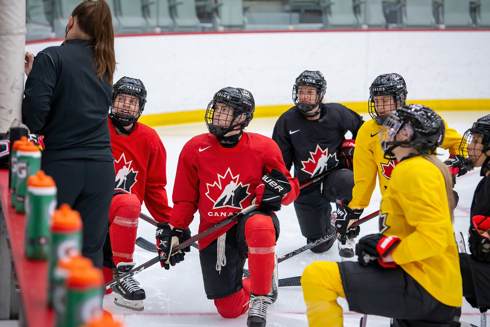 Players trying out for Team Canada take a knee at the January training camp in Calgary. - MATTHEW MURNAGHAN / HOCKEY CANADA IMAGES